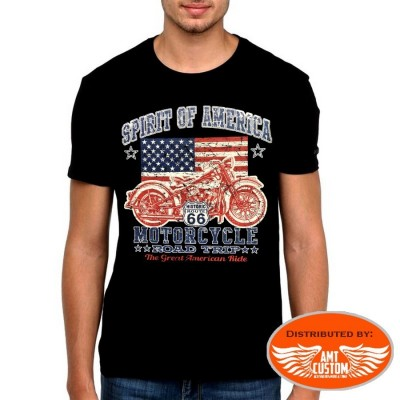 "T-Shirt Flag US ""Spirit of America"" drapeau usa moto custom"