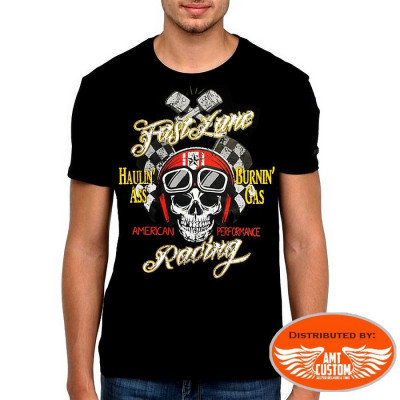 "T-Shirt Skull ""Fast Lane"" Racing"