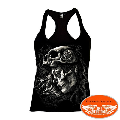 Top Lady Muerta Skull & Roses