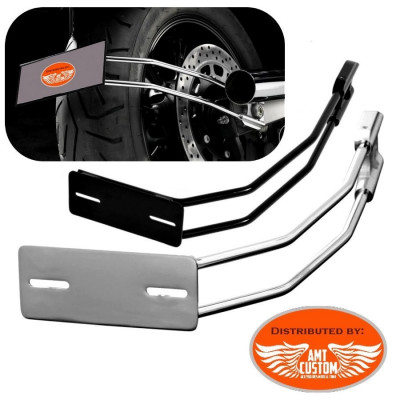 Support latéral plaque immatriculation Noir ou Chrome pour Moto Custom Harley Choppers Bobbers