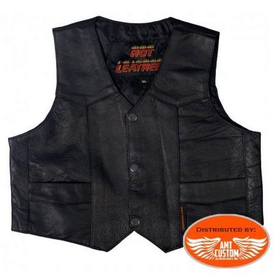 Mini Biker Plain Black Leather Vest