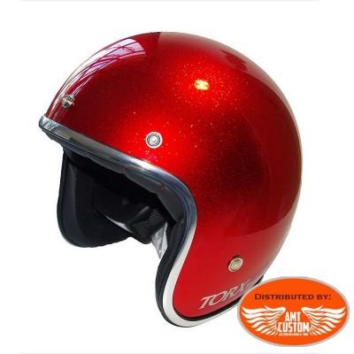 Casque Jet Glitter rouge homologué CE
