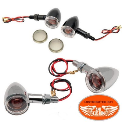 Clignotants Mini Deuce chrome ou noir pour Harley Davidson Mini Bullet