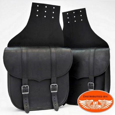 Sacoches LEDRIE cuir 2x9,5 litres - moto Custom