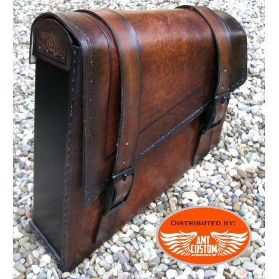 Brown leather swingarm bag for Harley Bobber - Choppers
