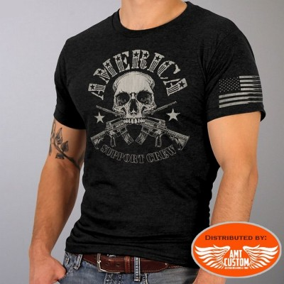 "T-shirt Biker Skull America ""Support Crew"" 2nd amendment moto custom trike motard biker harley gml1005"