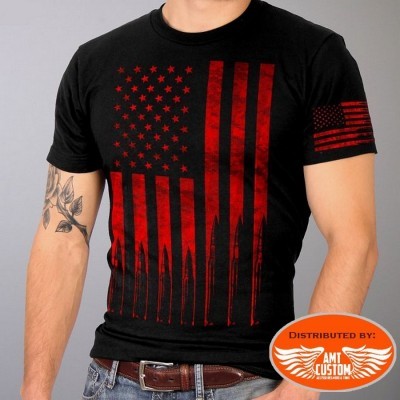 T-shirt Biker Drapeau USA & Bullets moto custom motard biker trike harleu gml1002