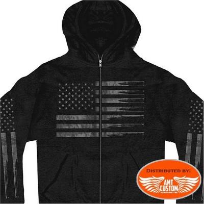 American flag bullets hooded Jacket Biker