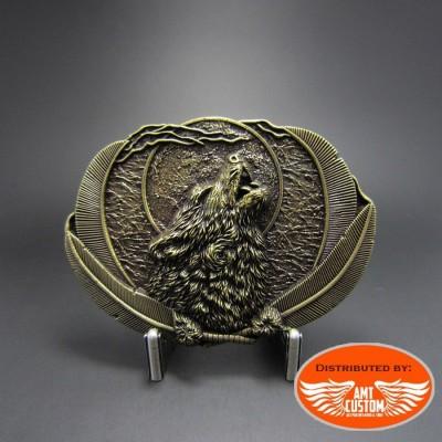 Boucle de Ceinture Loup & plumes Indien Vintage