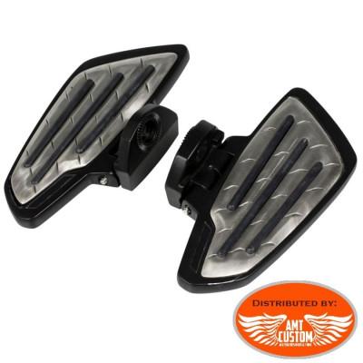 Passager Honda VT750 et VT1100 - 2 Platines Reposes pieds Noires - Marche pieds passager