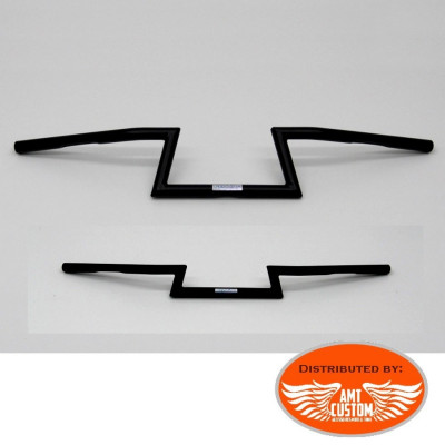 "Guidon Z BAR "" FLAT BAR"" Noir 22mm 7/8"" moto Custom"