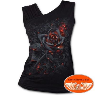 Tshirt burnt Rose lady rider fleur enflammée moto custom trike harley motard