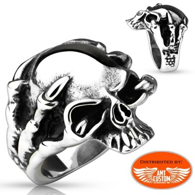 Skull and skeleton hand biker ring motorcycles custom