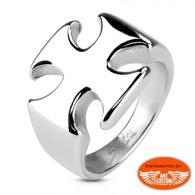 Maltese cross biker ring stainless steel motorcycles custom
