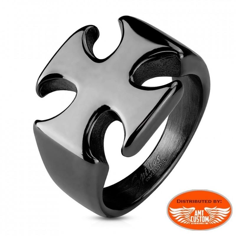 Chrome Maltese cross biker ring stainless steel motorcycles custom