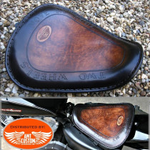 "Bobber Sportster Brown leather solo seat ""Two Wheels"" for XL883 and XL1200 from 2010 - UP"