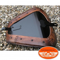 "Installation Bobber Sportster Brown leather solo seat ""Two Wheels"" for XL883 and XL1200 from 2010 - UP"