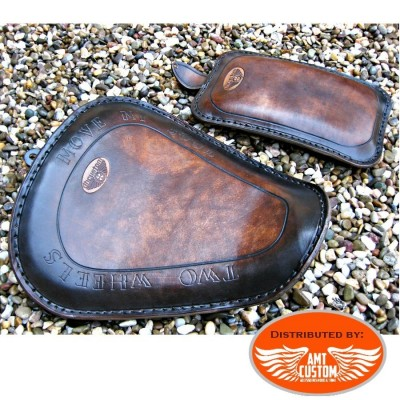 "Pack Kit Bobber Sportster Brown leather solo seat ""Two Wheels"" with passenger Seat (Option)"