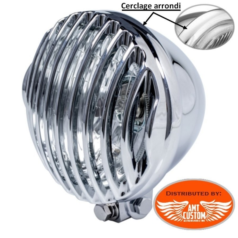 """Chrome grill Mask Cover for Spotlight 5""""3/4 with round trim ring"""