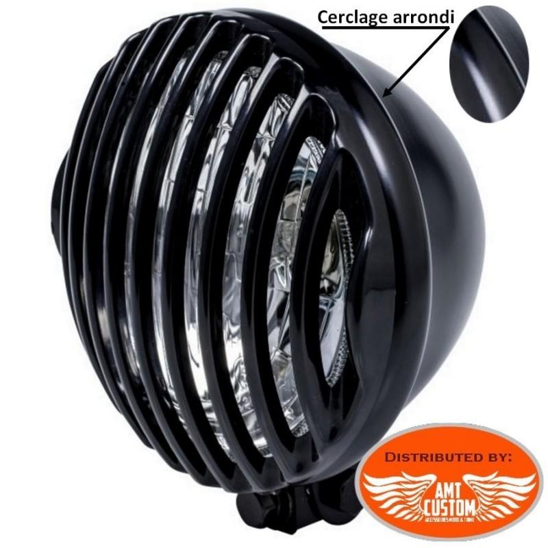 """Grilles phare 115mm (4""""1/2) additionnels Noirs pour phare avec cerclage arrondi 115mm"""
