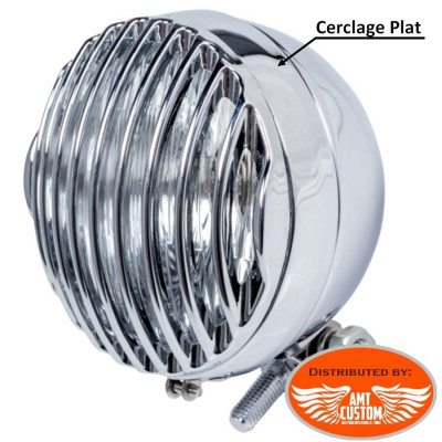 "2 Grilles phare 115mm (4""1/2) additionnels Chrome pour phare avec cerclage plat 115mm"