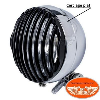 """2 Grilles phare 115mm (4""""1/2) additionnels noirs pour phare avec cerclage plat 115mm"""