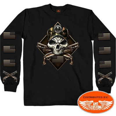 T-shirt polo sweat Skull Military 2nd Amendment