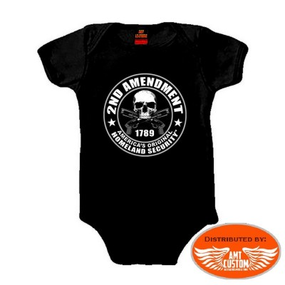 Body Biker Baby tête de mort 2nd Amendment.