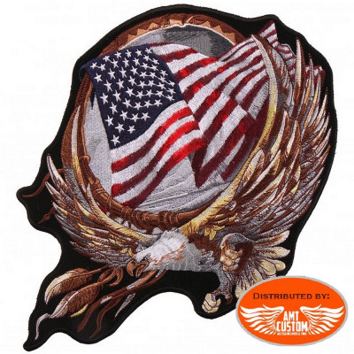 Ecusson Patch attrape-rêves Aigle Drapeau USA.
