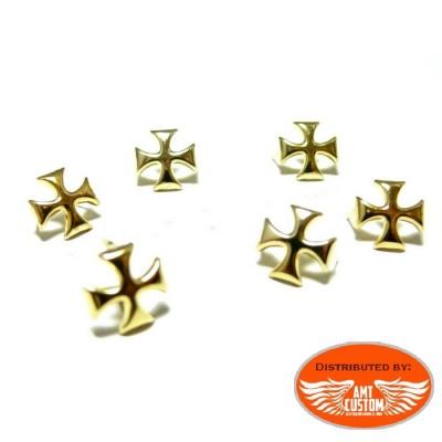 Lot de 20 rivets croix de malte chrome pour sacoches.