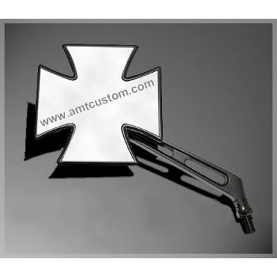 Rétroviseur Croix de Malte Noir - Universel moto custom  iron cross mirror black motorcycles