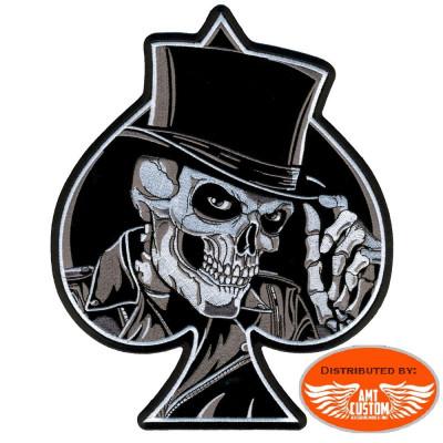Black and White Skull US patch biker jacket vest