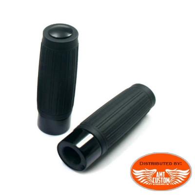 """Black Vintage 90's Grips handles 25mm (1"""") or 22mm (7/8"""") Bobbers Old Skool."""