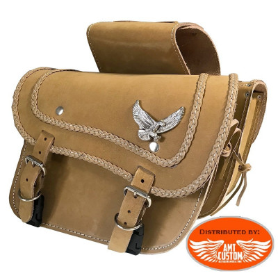 Pair of saddlebags brown Eagle Riders universal leather.