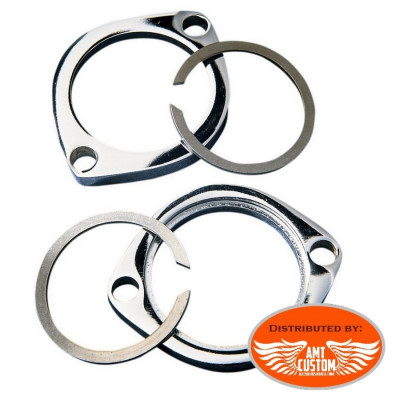 Harley Exhaust chrome flange kits with two retaining rings