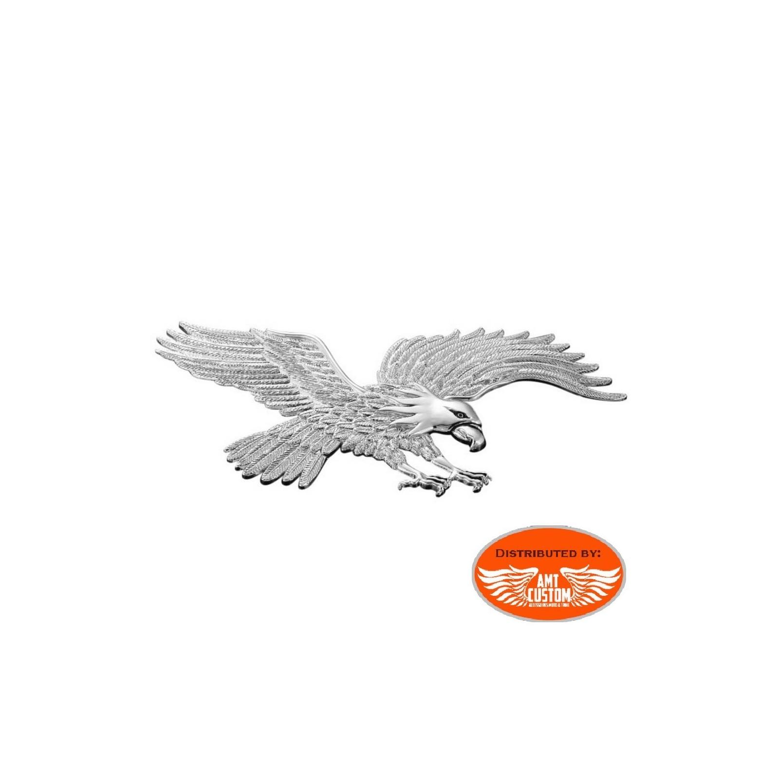 Embl/ème Ornement garde boue Aigle Chrome Moto Custom compact