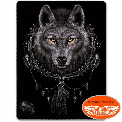 Couverture plaid polaire Loup Dreamcatcher.