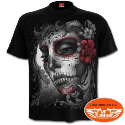 Tee shirt Biker Lady Muerta & Roses.