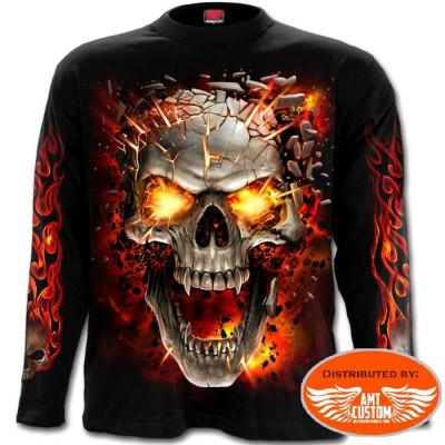 T-shirt polo Biker Skull Blast Flames
