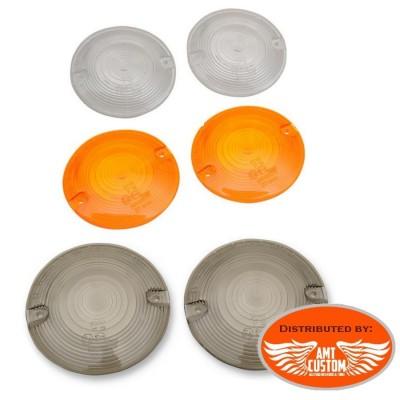 Harley Lentilles cabochon clair, fumé ou orange Clignotants pour Electra Softail Dresser Harley Davidson OEM 68440-86, 69307-02