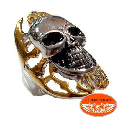 Bague Skull tête de mort Flaming dorée.