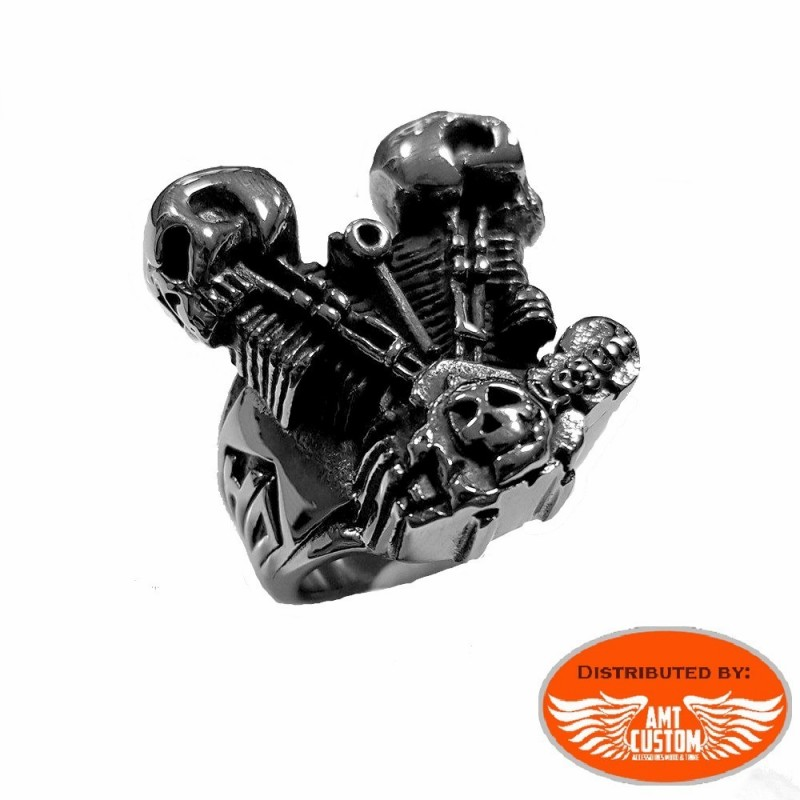Bague moteur Vtwin Skull biker.