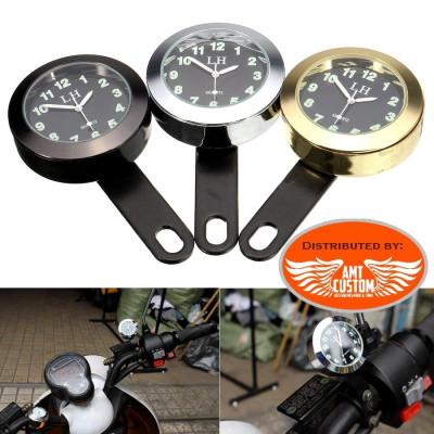 Montre poignée Guidon universel Chrome, Noir ou Or pour Harley, Japonaises, Européennes