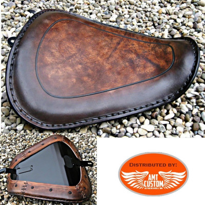 Sportster Brown leather solo seat for XL883 and XL1200 from 2010 - UP / Bobbers Choppers