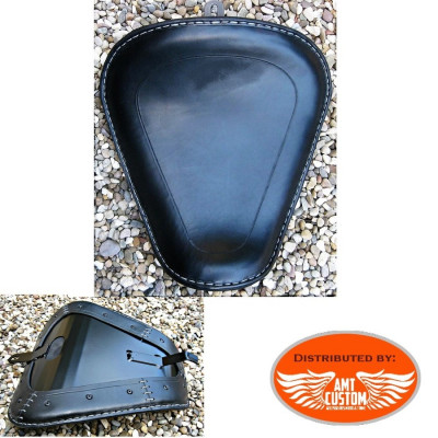 Bobber Sportster Black leather solo seat for XL883 and XL1200 from 2010 - UP / Bobbers Choppers