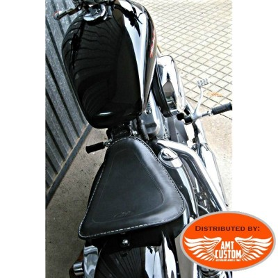 Sportster Black leather solo seat for XL883 and XL1200 from 2010 - UP / Bobbers Choppers