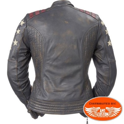 Leather jacket Cafe Racer Lady Rider motorcycle woman