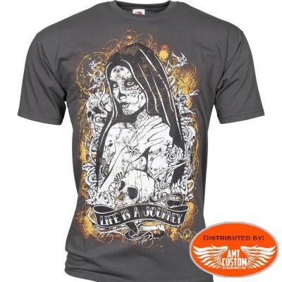 Tee shirt Biker Lady Muerta & Roses