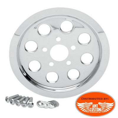 Harley Chrome Outer Rear Pulley inserts Cover Sportster Dyna Softail