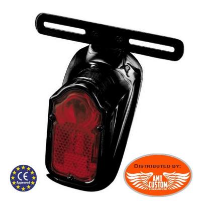 Feux arrière Stop Tomstone Rétro Vintage noir avec support plaque immatriculation.